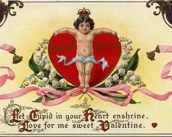 Digital vintage Valentines day greeting card Love heart girlfriend boyfriend Last minute printable gift Cardmaking scrap Ihappywhenyouhappy