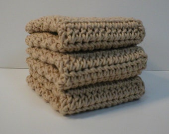 Handmade Crochet Cotton Washcloths or Dishcloths, Set of 3 Beige (#5910)