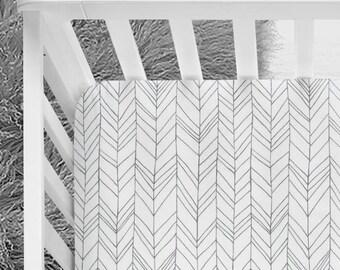 Arrows white & gray herringbone, gender neutral baby crib sheet, arrows, feather, woodland, grey nursery, fitted crib sheet