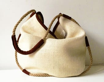 womens tote bag gifts for her, suede purse and jute, handmade shoulder tote with hemp rope, womens clothing made in italy