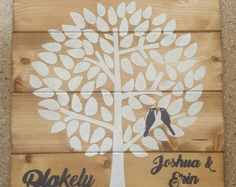 Wedding Tree With Love Birds Personalized Sign
