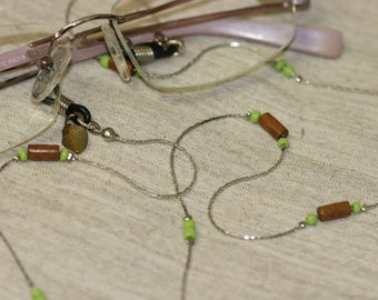Green Beads Eyeglasses Chain, Silver Color Eyeglasses Chain, Handmade Eyeglasses Wood Beads Chain, Delicate Chain ,