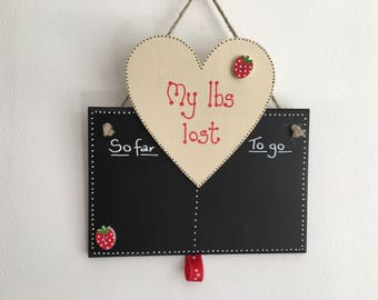 Heart and chalkboard handmade wooden slimming aid