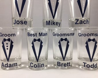 Personalized Shot Glasses, Best Man Gifts, Groomsman Gift, Groomsmen Gifts, Bachelor Party, Wedding Party Shot Glasses, Custom Shot Glasses