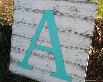 Farmhouse Wall Decor- Distressed Rustic Wood Sign with Metal Letter
