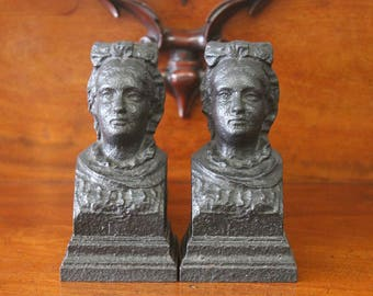 Antique French Figural Andirons, Fire Dogs, Cast Iron Bust of Woman c.1900
