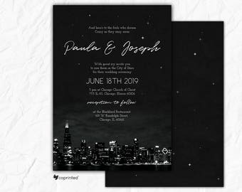 Chicago Wedding Invitation, Chicago Invitation, Chicago Skyline, City of Stars Wedding Invitation, Chicago City Wedding Invitation