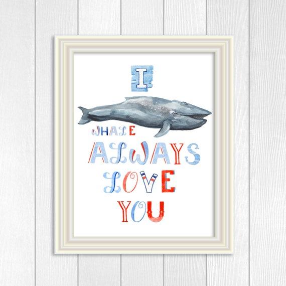 Baby Boy Nursery Art, Nautical Nursery Art, Whale Print, Red White Blue Nursery, Ocean Nursery Art, Nautical Decor, Watercolor Whale Art,