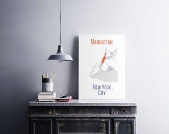 New York City Minimalist Map Poster, Minimalist Manhattan district