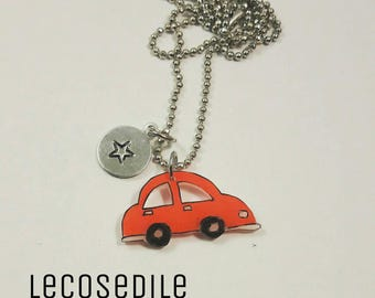 Handmade necklace with Pendant in the shape of a car with customizable charm