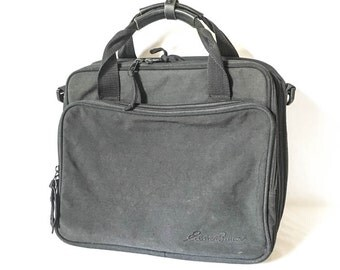 Black laptop bag - Eddie Bauer travel bag - Messenger bag - Carryon bag - Campus bag - Computer bag - Black laptop bag