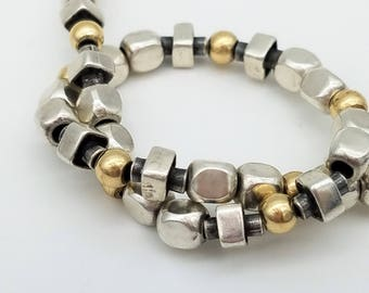 """Vintage Israeli Made Sterling Silver & 14K Gold Beaded Bracelet - 7.5"""""""