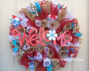 Welcome Wreath, Summer Deco Mesh Wreath, Welcome Wreath, Summer Wreath, Burlap Mesh Welcome Wreath, Summer Mesh Wreath, Front Door Wreath