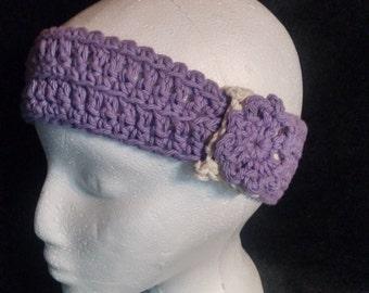 Purple Earwarmer With Flower Accent