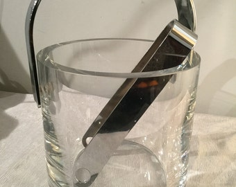 Ca. 1960s signed Orrefors Ice Container with Tongs in Chrome