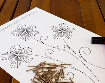 "String art pattern ""Three little flowers"" - String art DIY - String art template"