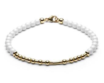 Ball bracelet / name bracelet • Morse code • white / gold