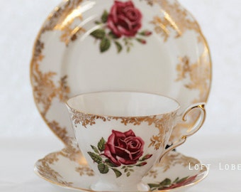 Paragon China,  trio TEACUP set, garlands of goldcolor flowers,  gold trimming, and large, Red Roses.