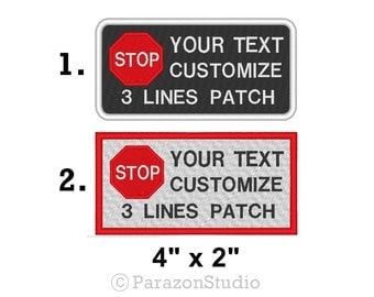 """Custom Embroidered Stop Sign Symbol Service Dog Patch Do Not Distract Sew on Patch 4"""" X 2"""" SD-SS04"""