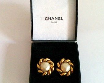 Chanel Faux Pearl Braid clip ons 1980s