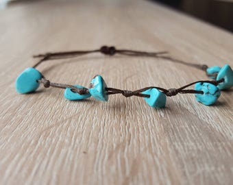 Bracelet Natural turquoise chip turquoise stone chip bracelet, bohemian bracelet