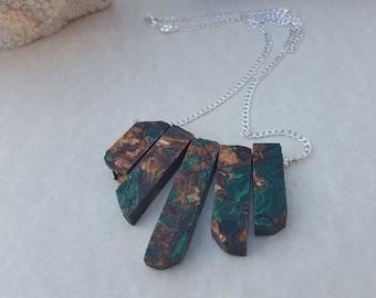 Sediment Jasper and gold copper Bornite pendant necklace 925 Silver Chain gemstone sea sediment Jasper and pyrite pendant necklace