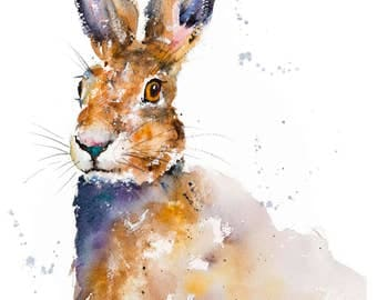 """Hare Painting """"Hermione II"""" - Limited Edition Mounted Giclee Watercolour print 46.5cm x 61.5 from an original watercolour by Karen Thomas"""
