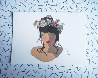 Card mailing XX Flower head