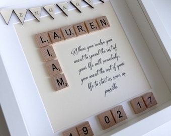 Personalised engagement gift, wedding gift, scrabble frame, gift for couple, special wedding gift, personalised engagement frame, wedding