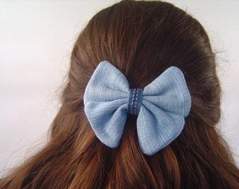 Hair bow. Denim hair bow. Fabric hair pin. Fabric hair bow clip. Upcycled denim bow.