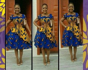 Cold Shoulder African Dress, African Prom Dress, African Women's Clothing, African Clothing, Yellow and Blue Ankara Midi Dress