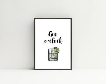 Gin O' Clock Print
