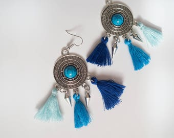 Blue Aqua Tassel Earrings, Coachella Earrings, Tribal Tassel Earrings