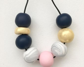 Navy, gold, marble and pink polymerclay bead necklace, chunky statement bead necklace, metallic clay necklace, navy polymer clay beads,