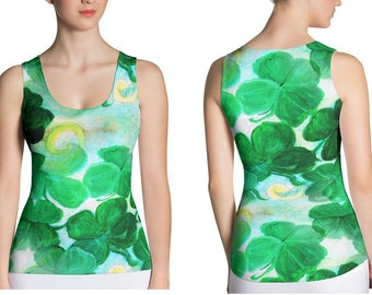 St Patrick's Day green clovers all over ladies tank top