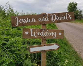 Wedding signs etsy uk personalised rustic wedding sign direction arrow wedding sign vintage wedding junglespirit
