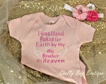 Hand picked For earth by in Heaven onesie - Custom - Rainbow baby set - Hand Picked for Earth By Sibling - Can Customize Wording And Colors