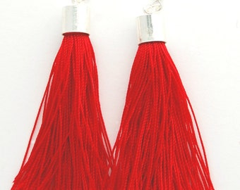 Tassel Earrings Dempse and Co Scarlet Red