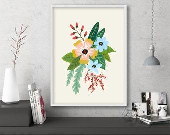 "floral art prints, flower wall art, folk art, instant download printable art, large art, large wall art, prints -""Folk Art Flowers No. 4"""