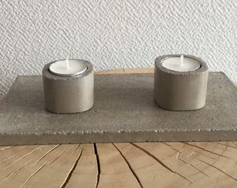 Concrete tray candlesticks