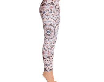 Mid Rise Waist Yoga Pants Women - Unique Yoga Leggings, Mandala Printed Leggings Tights