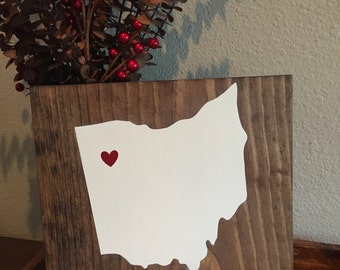 Custom State and Coordinates Wood Sign