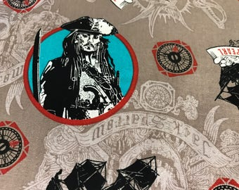 Pirates of the Caribbean Jack Sparrow fabric, movie fabric, pirate fabric, pirates, Hollywood, Disney fabric, yo ho yo ho, dead men tell no