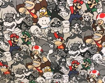 Flannel Nintendo Characters fabric, Nintendo Fabric, Mario Bros and friends fabric, Princess Peach fabric, novelty fabric, gamer fabric,