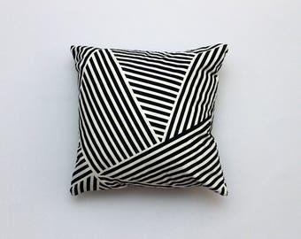 Throw Pillow featuring Black & White Multi-Stripe Fabric