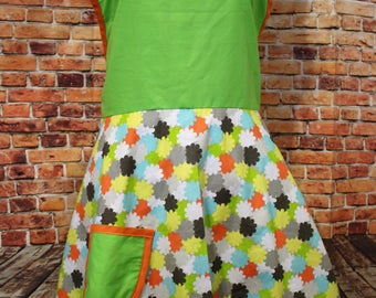 Bright flowers Apron with pocket