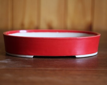 Shallow red oval bonsai pot