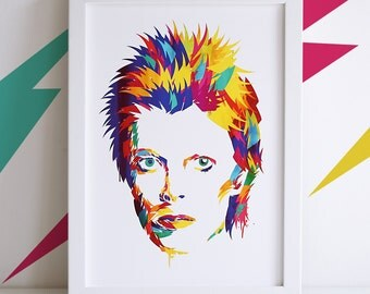 David Bowie Illustrated Art Print