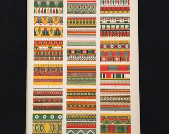 Egyptian No. 5 - Original Owen Jones Print, Grammar of Ornament, Vibrant Color Lithograph, Vintage Decor