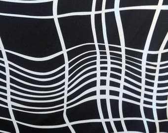 Swimwear or Athletic Knit Fabric by the yard.  Black and white Wavy lines.